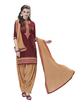 Maroon pure cotton cambric embroidered unstitched salwar with dupatta