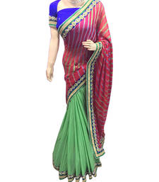 Buy Red embroidered brasso saree with blouse brasso-saree online
