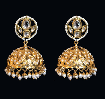 Pakistani Jadau And Kundan Pearl Studded Gold Plated Jhumka