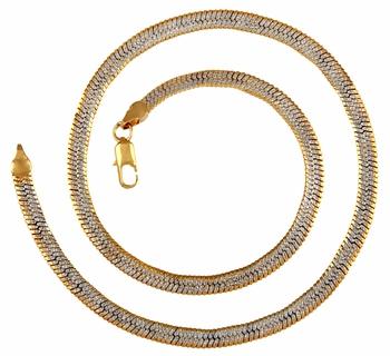 Designer Curb Gold Laser Rhodium Plated  Short Chain