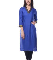 Buy Blue Rayon Solid kurti long-kurtis online