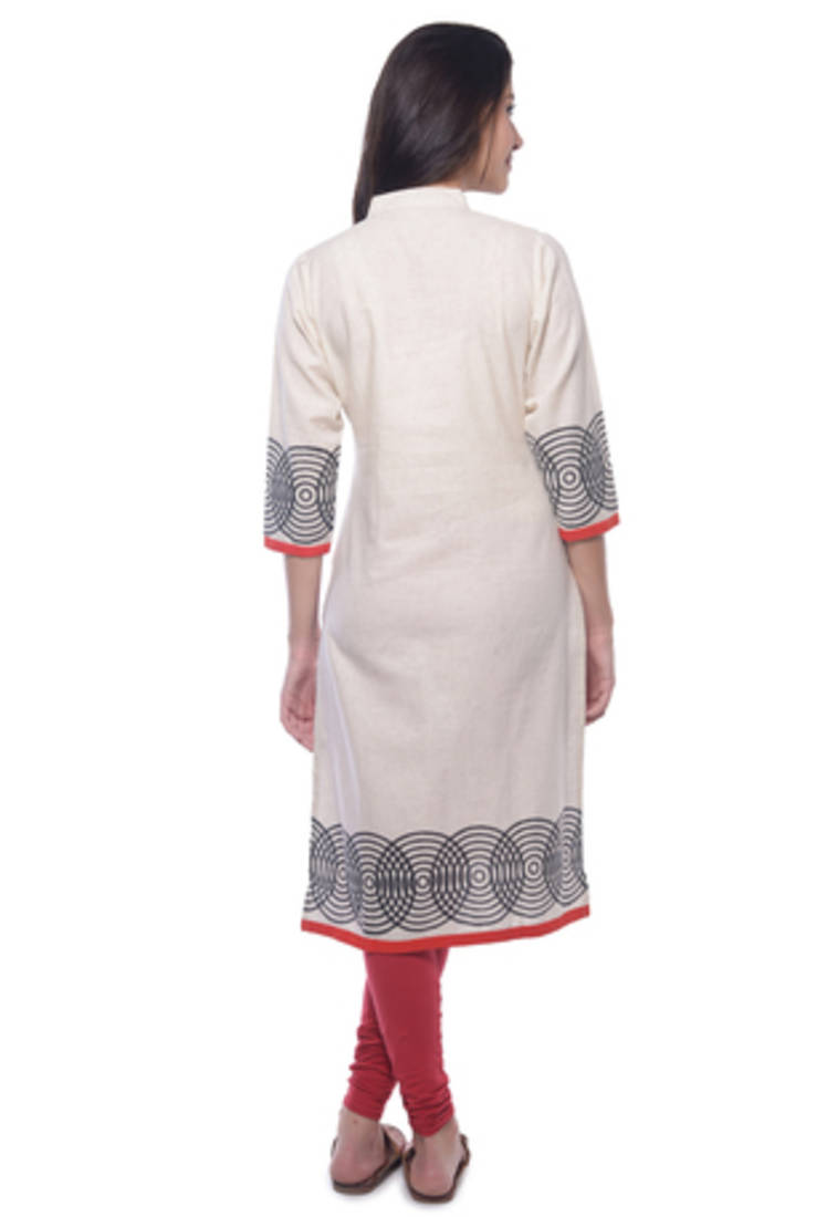 Buy Off White Khadi Block Print Kurti Online