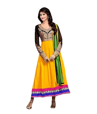 Yellow georgette embroidered semi stitiched salwar with dupatta