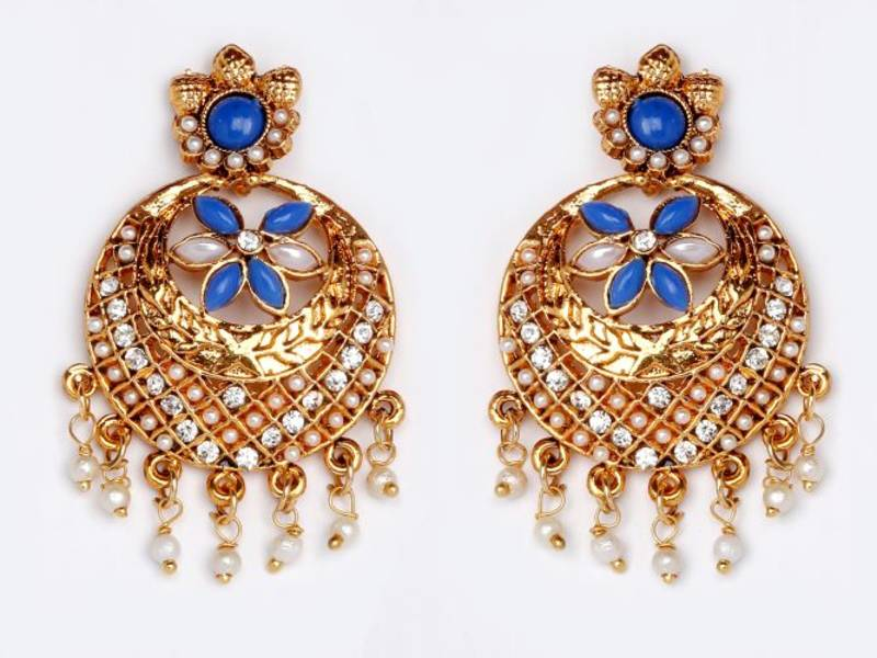 Buy Blue And White Stones Chand Bali With Pearl Online
