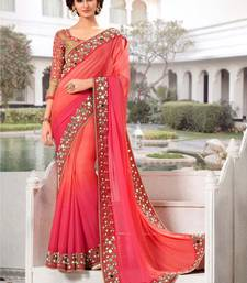Buy Pink embroidered Georgette saree with Raw Silk blouse sonakshi-sinha-saree online