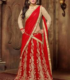 Red net embroidery unstitched lehenga choli shop online