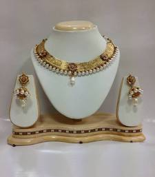 Buy Celebrity Kundan Jewelry with Pearls in White necklace-set online