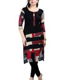 Buy Black  cotton silk printed kurti cotton-kurti online
