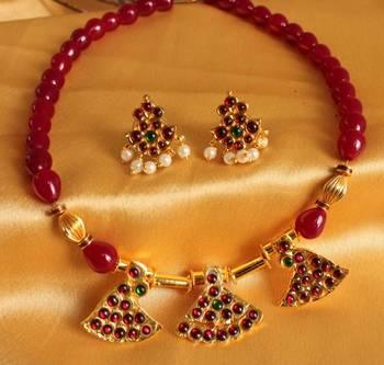 Gorgeous Unqiue Ruby Temple Jewel Necklace Set
