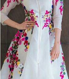 Buy White floral print georgette party-wear-kurti online