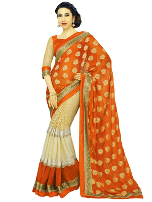 Karishma Kapoor OrangeGeorgette Saree With Blouse