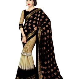 Buy black hand woven georgette saree With Blouse georgette-saree online