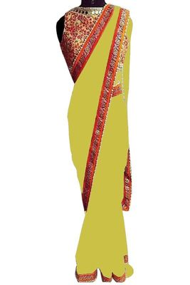 Buy yellow plain georgette saree with blouse online