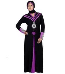 Buy Purple and black lycra straight stitched abaya eid-abaya online