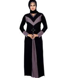 Purple and black lycra straight stitched abaya