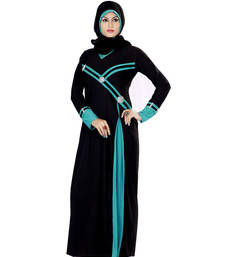 Aqua and black lycra straight stitched abaya