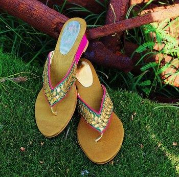 Sea green silk plain women footwear