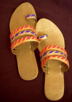 Orange silk plain women footwear