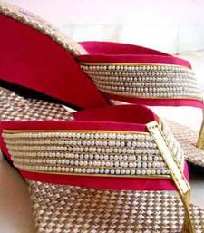 Red fancy fabric plain women footwear