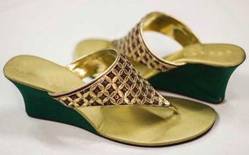 Green silk plain women footwear