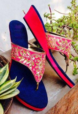 Blue fancy fabric plain women footwear