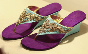 Purpel silk plain women footwear