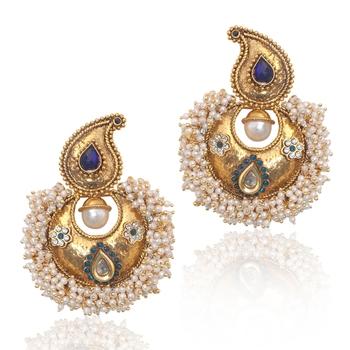 Blue stones chandni pearl polki royal earring,ethnic india women jewelry v573b