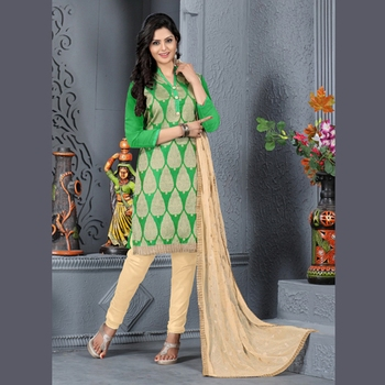Green Embroidered Jacquard Unstitched Salwar With Dupatta