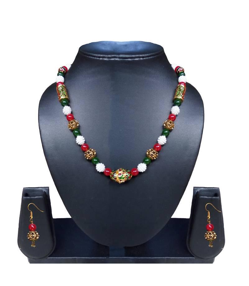 Kanjivaram Beads: Beautiful Pearl And Meena Beads Necklace And Earring Set
