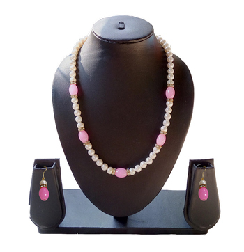 Beautiful Pink and White Necklace and Earring Set