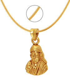 Buy Sai Baba Gold Plated Religious God Pendant with Chain for Men & Women PS6012005G Pendant online