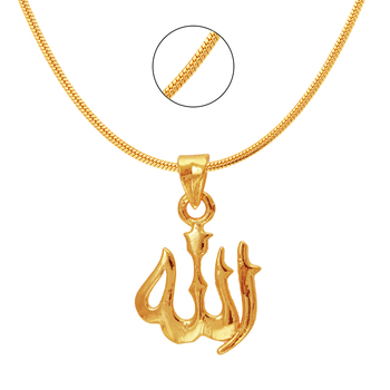 Allah Gold Plated Religious God Pendant with Chain for Men & Women PS6012007G