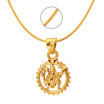 Hanuman Gold Plated Religious God Pendant with Chain for Men & Women PS6012008G