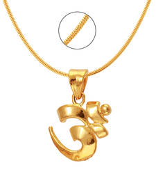 Om Gold Plated Religious God Pendant with Chain for Men & Women