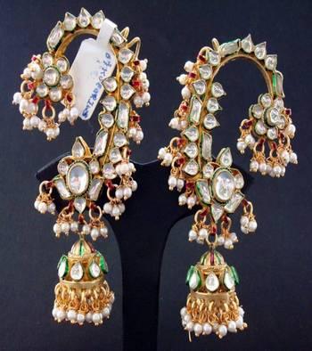 Kundan Karan Phool Earrings
