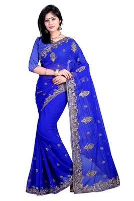 blue resham embroidery georgette saree with blouse