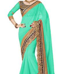 Buy green resham embroidery georgette saree with blouse georgette-saree online