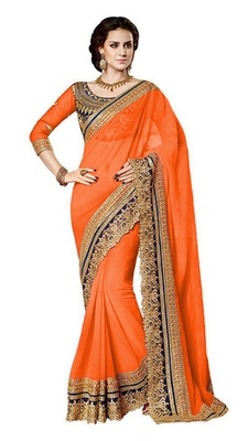 orange resham embroidery georgette saree with blouse