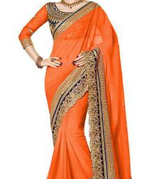 Buy orange resham embroidery georgette saree with blouse georgette-saree online