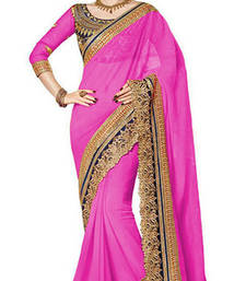 Buy pink resham embroidery georgette saree with blouse georgette-saree online