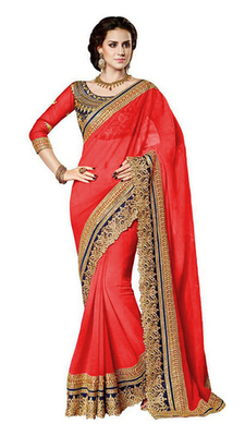 red resham embroidery georgette saree with blouse