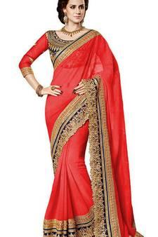 3fc5e03be3 Georgette Sarees Online   Buy Pure Georgette Sarees with Zari Border ...