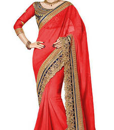 Buy red resham embroidery georgette saree with blouse georgette-saree online