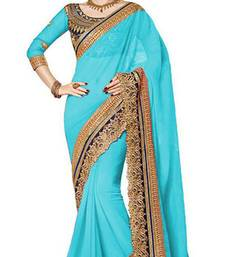 sky blue resham embroidery georgette saree with blouse