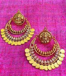 Buy Pearl ram leela inspired goddess lakshmi motif ginni coin earring v346w gifts-for-mom online