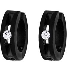 Buy Non Pierced Black Stainless Steel Hollow CZ Fashion Bali Round Studs Earring for Men Boys men-stud online