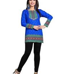 Buy Blue american crepe printed kurti short-kurti online