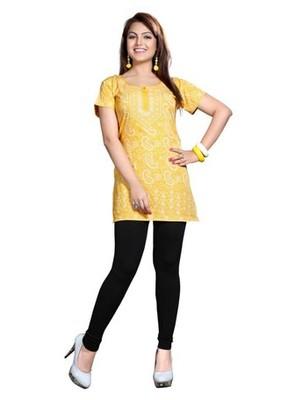 Yellow american crepe printed kurti