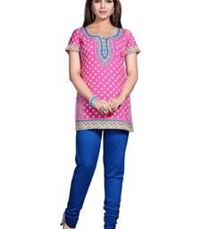 Pink american crepe printed kurti
