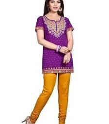 Buy Purple american crepe printed kurti short-kurti online